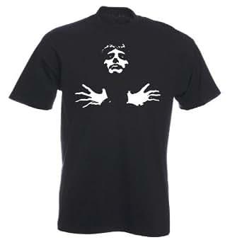 Sherbet Dip Freddie Mercury Print T-Shirt (Small - 4XL) 100% Cotton (Small, Black)