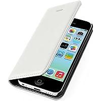 iPhone 5C Lederhülle | JAMMYLIZARD Handyhülle [ Swiss Wallet ] Ledertasche Flip Case Cover Hülle Leder Schutzhülle, Weiß