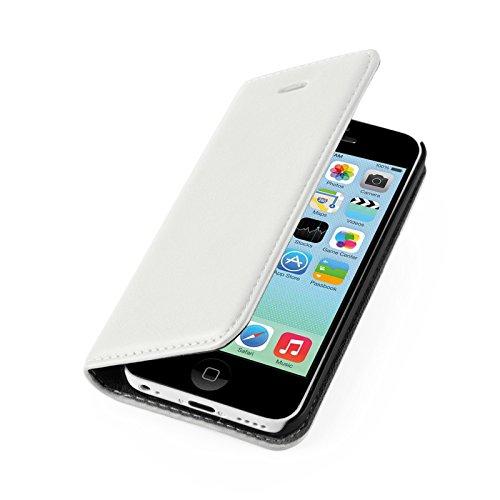 Coque iPhone 5C Housse iPhone 5C | JAMMYLIZARD | étui portefeuille à rabat stand vidéo range cartes aspect cuir, Blanc