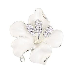 Merdia Herrenkette Brosche Pin für Frauen Blumen Brosche mit geschaffen Kristall Weiß 29,8G