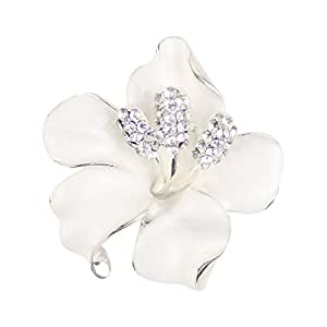 Merdia Brooch Pin for Women Flowers Brooch with Created Crystal White 29.8g MJPPhwWy