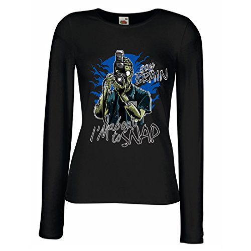 lepni.me Manches Longues Femme T-Shirt Photographe de Zombi, Vêtements de journalistes, Experts en Photographie, Cadeau Humoristique (Small Noir Multicolore)