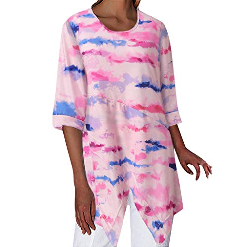 Tooth Damen Tops T-Shirt Langarmshirt Sommer Herbst Mode Casual Frauen Langarm Shirt Rundhals Ausschnitt Lose Bluse Oberteil(Pink,L) -