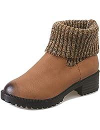 Yi Buy Zapatillas Moda Botines Chelsea Boots Zapatos Mujer Plataforma Tacón Ancho Alto ...