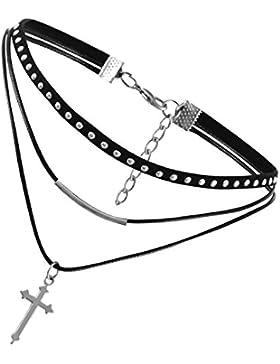 Flongo Leder Samt Halskette Kette Anhänger Tattoo Choker Halsband Schwarz Gold Golden Stretch Elastisch Einstellbar...