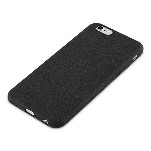 Cadorabo - TPU Frosted Matte Silikon Hülle für >                Apple iPhone 6 / 6S                < - Case Cover Schutz-Hülle Bumper in FROST-DUNKEL-BLAU FROST-SCHWARZ