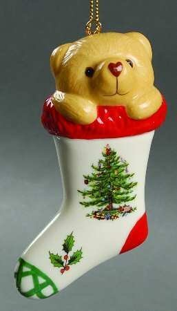 Spode Christmas Ornamente (Spode Christmas Tree Ornament Bear In Stocking by Spode)