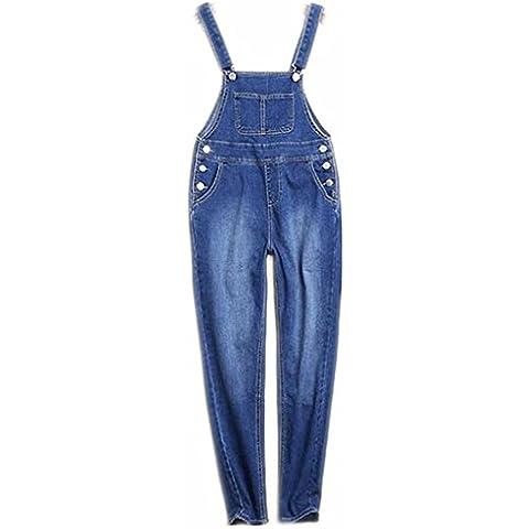 ZYQYJGF Pantalones Suelta Larga Botón Color Sólido Retro Correas Pierna Ancha Jeans Mujer Casual Mezclilla Azul Stretch Destruir . M