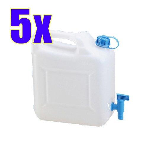 Hergestellt für BAUPROFI 5x Wasserkanister ECO 10 Liter mit Hahn 5er Set Camping-Kanister Wassertank