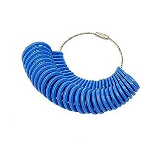 cnmade 27Stück Kunststoff Ringmaß Finger Gauge Schmuck Kit Werkzeug Messgerät für Ringe Durchmesser blau