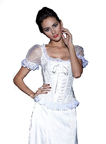 SZIVYSHI Damen Vollbrust Corsage With Sleeves (XL, weiß)
