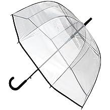 C&C LONDON - Paraguas Panoramic EXTRA RESISTENTE Al Viento - ALTA TECNOLOGÍA PARA COMBATIR POSIBLES DAÑOS - Apertura Automático - Varillas De Fibra De Vidrio - Gran Toldo - Ribete Negro - Transparente
