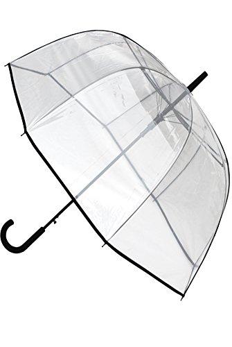 COLLAR AND CUFFS LONDON - Ombrello Trasparente - FORTE - Antivento - Di Alta Ingegneria Per Combattere I Danni Causati Da Ribaltamento - Automatico - Classico - Chiaro Cupola - Striscia Nera - Grande