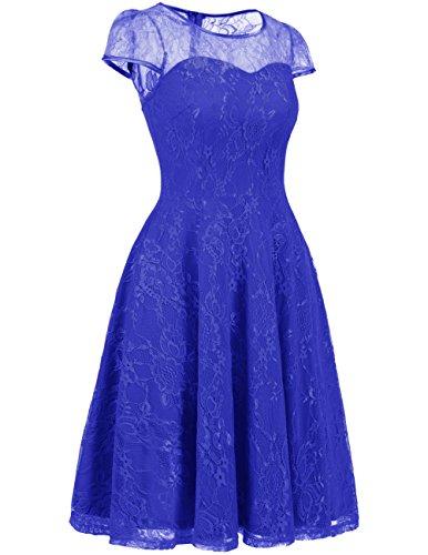 Dresstells Brautjungfernkleid Cap Sleeves Kleid Aus Spitzen Spitzenkleid Knielang Abendkleid Royalblue