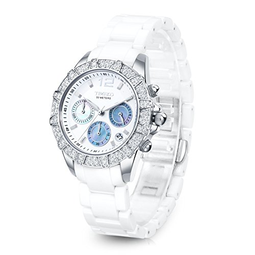TIME100 Women Diamond-set Bracelet Watch Mosaic White Black Rose Gold Ceramic Band High Precision Multifunction Japan QuartzMovt Watch #W50056L