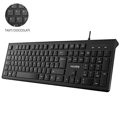 victsing tastiera pc italiana, tastiera qwerty usb, tastiere  computer per windows 10/8/7/vista/xp, mac, linux, casa e ufficio,  nero