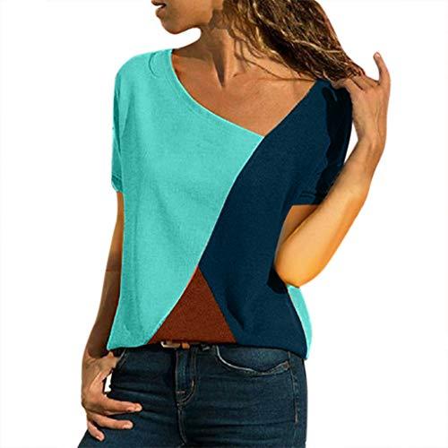 Honestyi Frauen Farbe O-Ausschnitt Casual Kurzarm Patchwork Top T-Shirt Beiläufiges kurzärmliges Patchwork-T-Shirt mit O-Ausschnitt in Frauenfarbe(Grün,XXXL) -