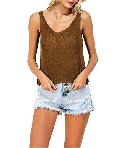 CHIC DIARY Damen Frauen casual Shirt gestrickt mit V-Ausschnitt ärmellos T-Shirt Cami Tank Top aus Baumwolle (kaffee, one size? (Cami Kaffee)