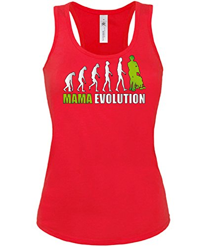 love-all-my-shirts Mama Evolution 643 Damen Tank Top (TT-F-R-Weiss-Grün) Gr. XL