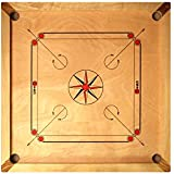 """Carrom Set - Great value carrom boards with mango wood edges a 4mm thick polished mango wood playing surface. Weighs 7kg, has a total size of 33"""" x 33"""", a playing surface of 29"""" by 29"""". Includes coins, striker and powder. Also known as caram, carom"""