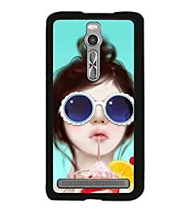 Fuson Premium 2D Back Case Cover Cute girl With Black Background Degined For Asus Zenfone 2::Asus Znfone 2 ZE550ML