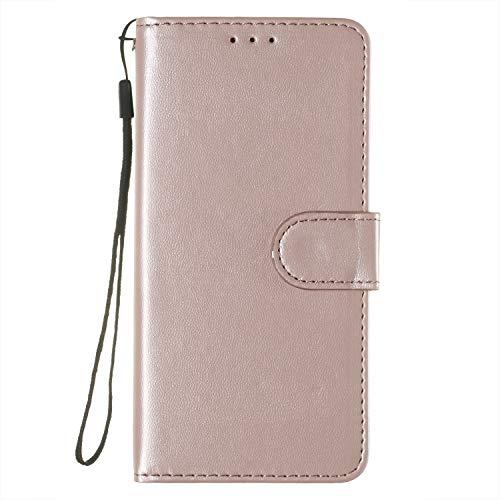Lomogo [Huawei P9 Lite Hülle Leder, Schutzhülle Brieftasche mit Kartenfach Klappbar Magnetverschluss Stoßfest Kratzfest Handyhülle Case für Huawei P9Lite - LOYHU250330 Rosa Gold