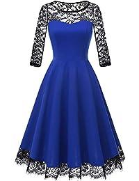 HomRain Damen 1950er Elegant Spitzenkleid Rundhals Knielang festlich  Cocktail Abendkleid c73ab08f35
