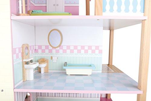 Puppenhaus Rosa Dach aus Holz, inkl. 21 farbenfrohen Möbelstücken, Spielspaß auf 3 Etagen, mit drehbarem Sockel, offene Seiten für einfaches Bespielen - 4