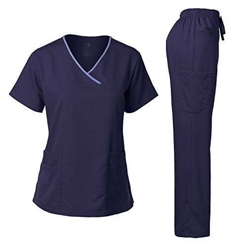 Dagacci Medical Uniform Damen Scrub Set Stretch Kontrast-Bindung Top und Hose - Blau - X-Klein - Kleine Flare Scrubs Hose