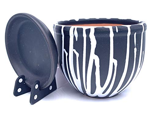 Keramik Pflanztopf glasiert mit Untersetzer rund Terra mit Untersetzer Blumentopf Blumentopf Tontopf Standard, Schwarz/Weiß gestreift, 16cm x 12cm