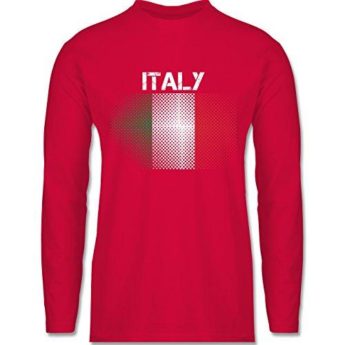 EM 2016 - Frankreich - Italy Flagge - Longsleeve / langärmeliges T-Shirt für Herren Rot