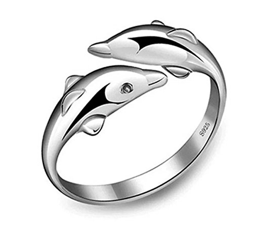 flin 925 de Plata de Ley Anillos de delfín Doble Apertura de Regalo Nuevo Ajustable