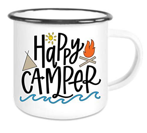 crealuxe Emaille Tasse mit Rand Happy Camper bunt - Kaffeetasse mit Motiv, Campingtasse Bedruckte Email-Tasse mit Sprüchen oder Bildern - Becher Camper Happy