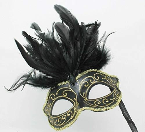 Das Gute Leben Schwarz und Gold Venezianische Maskerade Partei Karneval Maske mit Federn auf Einem ()