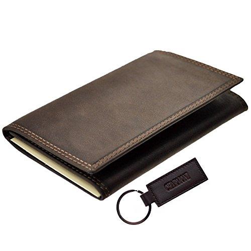 Charmoni-Custodia porta documenti auto, patente di guida, carte di credito, in pelle di vacchetta, modello Abjat marrone Taglia unica