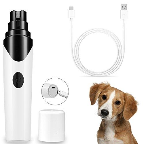 Premium Krallenschleifer Hund Elektrische Nagelschleifer Nagelmaschine Nageltrimmer mit 3 Schleif Wiederaufladbar und USB-Anschluss Krallenpflege für Hund & Katze