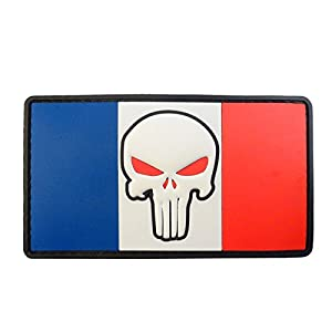 Punisher Crâne France Drapeau Drapeau Morale Tactical Combat PVC Gomme Velcro Écusson Patch