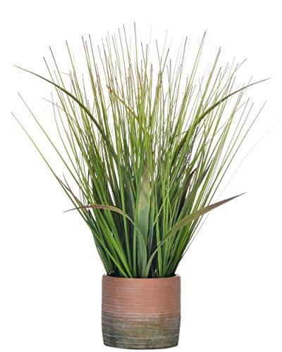 Giftale Planta Artificial de 16 Pulgadas con Maceta de Hierba de PVC Verde, Aspecto auténtico de césped Artificial con Maceta