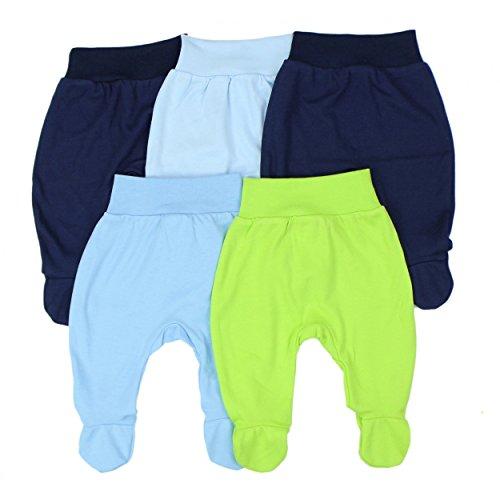 Babyhose mit Fuß Stramplerhose Jungen Baby Hose Strampelhose Mädchen im 5er Pack, Farbe: Junge, Größe: 74