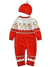 Vine Ropa de Santa Claus De Bebé suéteres mameluco manga larga Con + sombrero