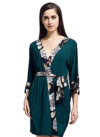 YiLianDa Kimono Femme Peignoir de Bain Waffle Robe de Chambre col V Pyjama Vêtements de nuit Vert M