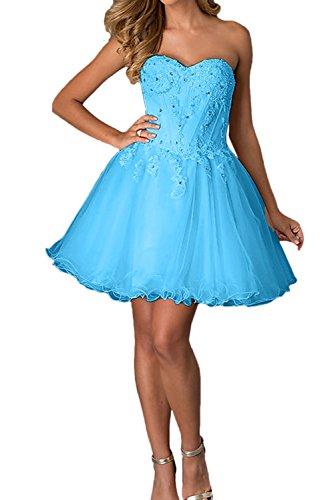 Ivydressing Elegant ALinie Kurz Abendkleider Apitze Brautjungfernkleid  Ballkleider Blau