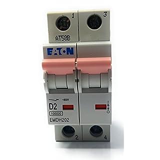 Eaton EMDH202, 2-polig, MCB 2A 10KA, Typ D DP, Mini-Leitungsschutzschalter
