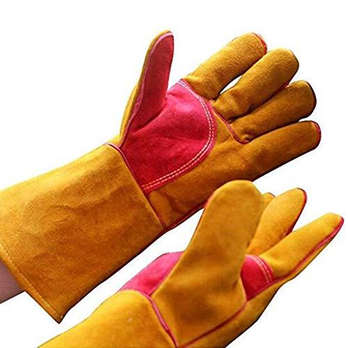 Preisvergleich Produktbild Outdoor Rindsleder Kaltschweißen Handschuhe Home Grill Kamin Küche Outdoor Isolierung Warme Handschuhe Mode Freizeit