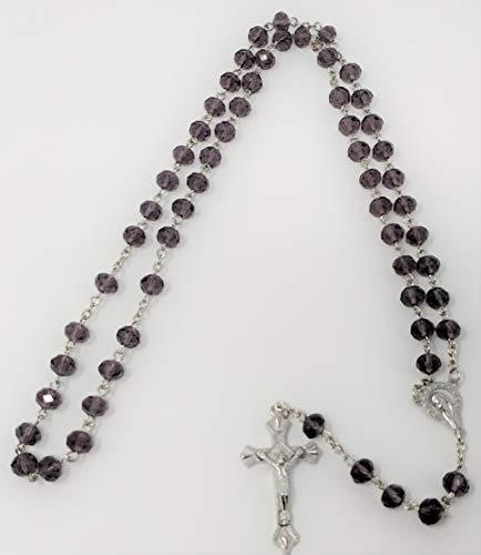 Crystal Cut Cross (Lila Holy Funkelnder Diamant Schnitt Rosenkranz Kristall Perlen Kreuz von Sterling effectz)