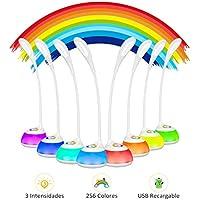 Lampara LED Escritorio Infantil USB Recargable 2000mAh, VicTsing Flexo Escritorio con 3 Niveles de Intensidad, Luz Ambiental Nocturna de 256 Colores, Brazo Flexible para Estudio, Lectura y Quitamiedos