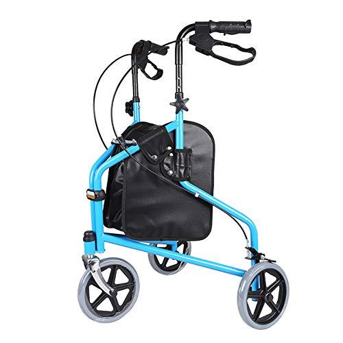 DMZH Gehwagen Gehhilfe 3 Räder Superlight Aluminiumlegierung Abnehmbar Gehwagen Krücken Alternative mit Sitz und Einkaufstasche