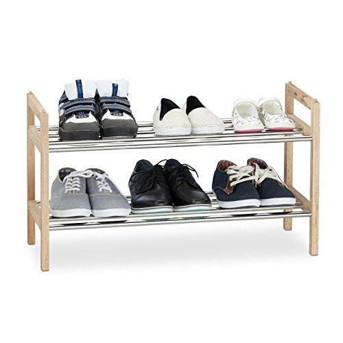 Relaxdays Schuhregal Walnuss 12 Schuhe, Edelstahl Schuhablage, stapelbarer Schuhständer, HxBxT: 41...