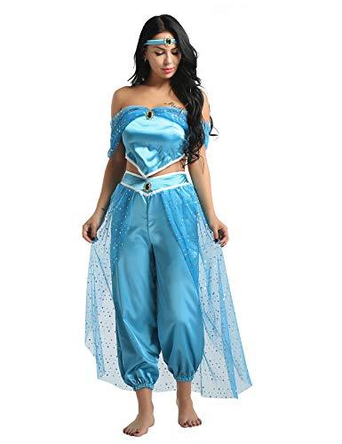 Erwachsene Für Disney Kostüm Jasmin - Tiaobug Damen Prinzessin Kostüm Set Pailletten Crop Top + Lange Weite Hose + Stirnband mit Strass Verkleidung für Karneval Fasching Cosplay Party Tanz Blau S