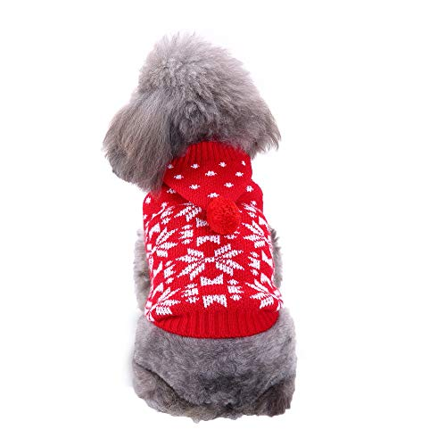 üm - Hund mit Kapuze Schneeflocke Pullover,Weihnachten Hund Katze Winter Warme Kapuze Schnee Pullover Mantel Kostüm Bekleidung(Rot,XXL) ()